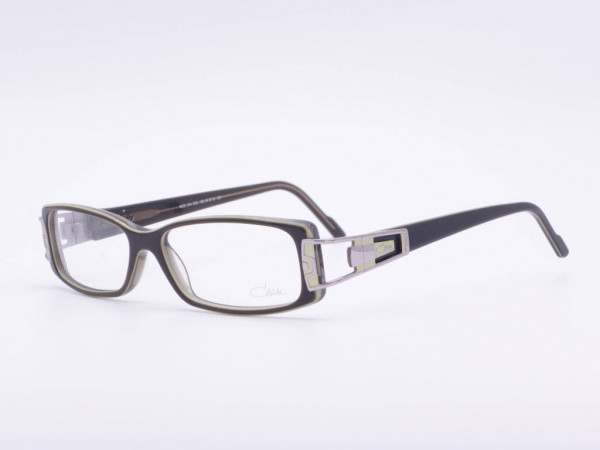 CAZAL Model 314 dark green rectangular ladies glasses made of plastic with applications in bright green on frame and temples