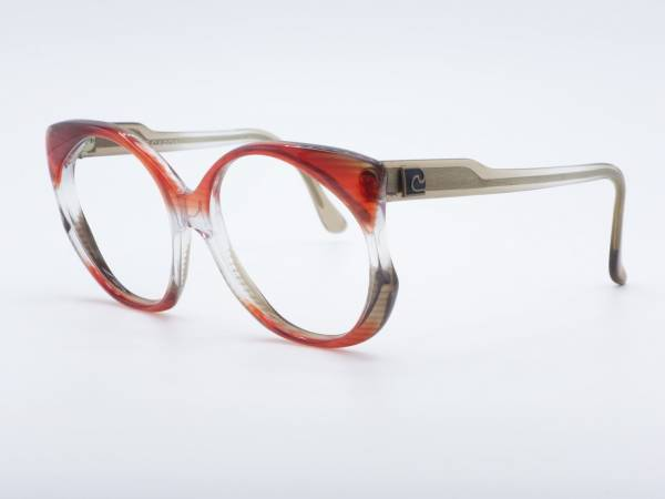 Pierre Cardin 80s Butterfly Woman Oversized Glasses Red Transparent Frame GrauGlasses