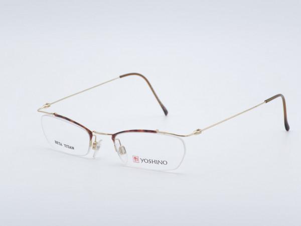 Yoshino frameless men glasses very light titanium frame shape rectangular amber gold colors