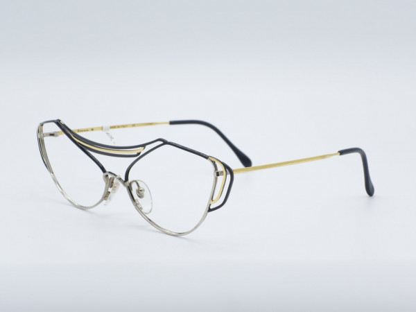 Casanova LC9 Schmetterling übergroße schwarz goldene Frau Brille Metallrahmen GrauGlasses