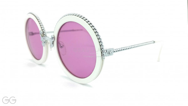 Christian Lacroix round white silver vintage ladies sunglasses model 7302 with round pink-violet sun lenses GrauGlasses