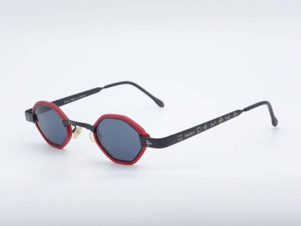 IMAGO Kamen Achteck Herren Rot Schwarz Vintage Sonnenbrille Nerd GrauGlasses