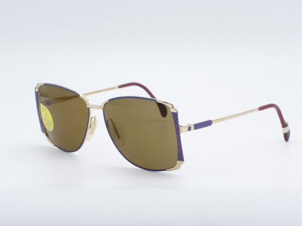 ZEISS 9293 Square Blue Golden Metal Ladies Sunglasses West Germany