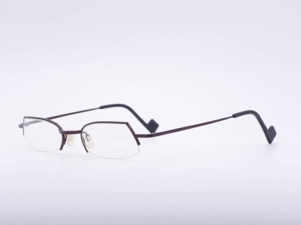 Theo Eyewear dunkelrot weinrote Halb Rand Brille Rechteck Metall Belgien GrauGlasses