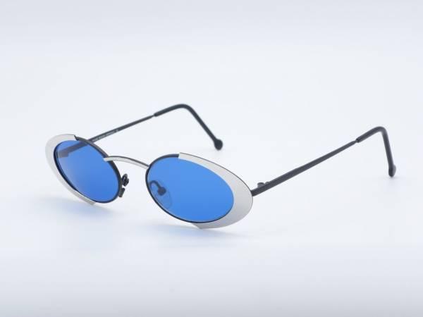 IMAGO HYDRA Silber Ovale Sonnenbrille Blaue Gläser Neue Damen Metall Fassung Deutschland GrauGlasses