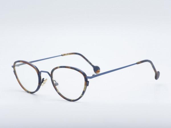 l.a. Eyeworks blaue Panto Metall Brille mit Sonnen Clip Modell SAM Vintage Fassung GrauGlasses
