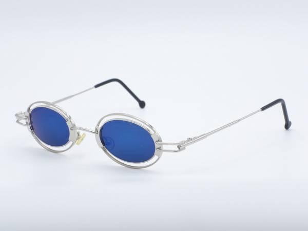 IMAGO KAPPA Silber Oval Metall Sonnenbrille Blaue Gläser Nerd Rahmen GrauGlasses