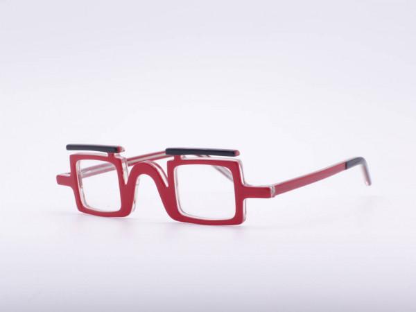 theo eyewear red square women glasses plastic black eyebrow striking provocative Belgium GrauGlasses