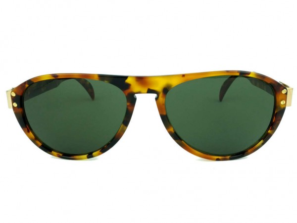 Silhouette M2117 Vintage Men Sunglasses with Leopard Pattern and Green Lenses