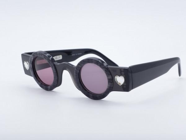 Patrick Kelly Peanut Black Round Ladies Sunglasses Heart Rhinestones Paris France