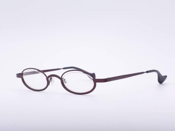 Theo Eyewear dee slim narrow dark red oval women glasses metal Made in Belgium GrauGlasses