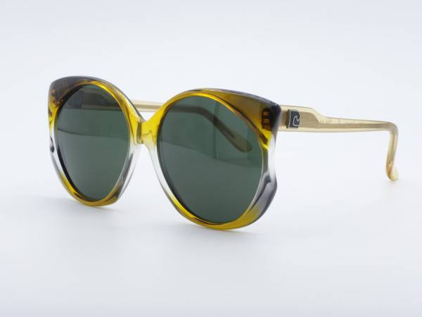 Pierre Cardin 214 Butterfly Ladies Sunglasses 80s Yellow Gradient Frame Green Glasses