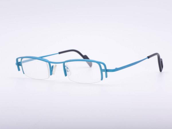 theo eyewear woman winter turquoise blue metal half rim glasses Belgium GrauGlasses