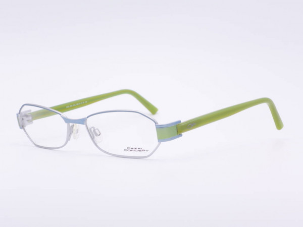 Modern silver Cazal Conzept metal women glasses model 503 rectangular frame green temples GrauGlassses