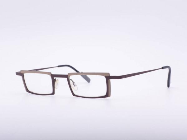 Theo Eyewear modern rectangle brown metal glasses Belgium GrauGlasses