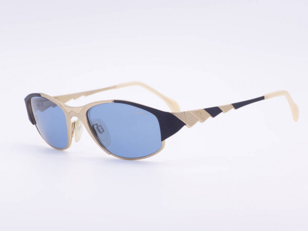 Cazal women's sunglasses unique model 987 in gold and black metal frame blue lenses GrauGlasses