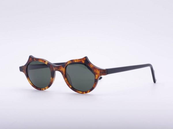 Theo Eyewear 90's Vintage Striking Round Sunglasses Amber Colors Belgium GrauGlasses