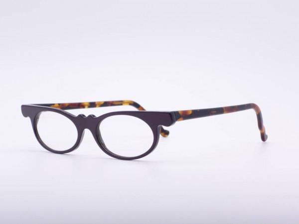 Theo Eyewear dark purple amber cat eye glasses women plastic vintage Belgium GrauGlasses