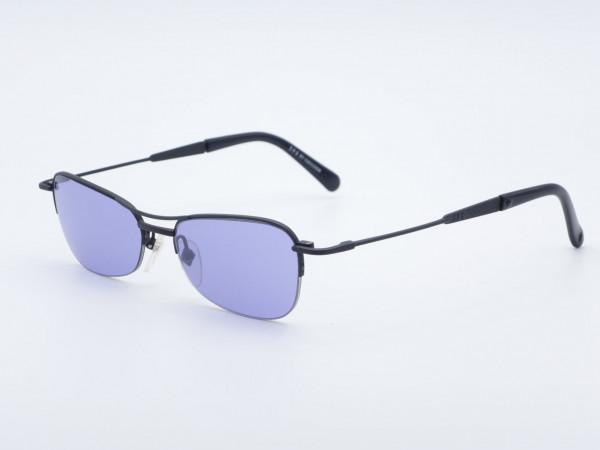 JPG Gaultier 58 schwarze rechteckige Sonnenbrille lila Gläser Halbrand Metallrahmen GrauGlasses