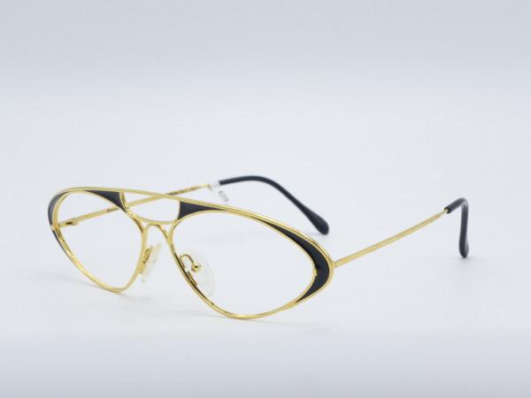 Casanova LC8 oval gold black metal glasses large vintage frame oversized GrauGlasses